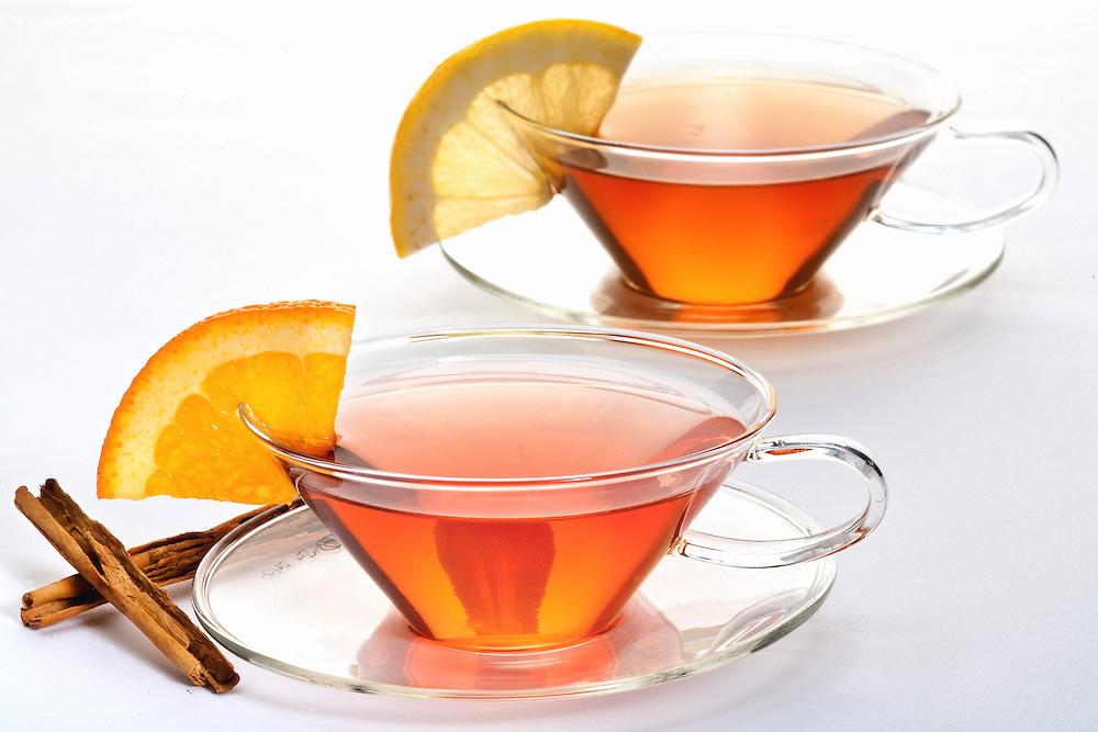 Orange spice tea,lemon tea together