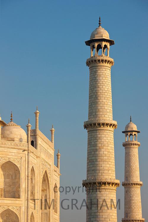 The Taj Mahal mausoleum eastern view detail, Uttar Pradesh, India