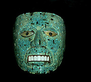 Quetzacoatl, depicted in a turquoise mosaic mask(15th-16th century).  Mixtec-Aztec  deity,