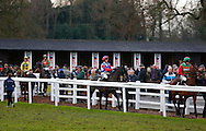 Plumpton, UK, 16th January 2017<br /> Harry Cobden (Red Cap) riding Royal Salute go to post for the jasonhallracing.com 'Sharing Success' Handicap Chase at Plumpton Racecourse.<br /> &copy; Telephoto Images / Alamy Live News