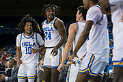 UCLA Bruins guard Tyger Campbell (10) and forward Jalen Hill (24) celebrate against the San Jose State Spartans during an NCAA college basketball game, Sunday, Dec. 1, 2019, in Los Angeles. UCLA defeated San Jose State 93-64. (Jon Endow/Image of Sport)