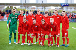 MOSCOW, RUSSIA - Tuesday, September 26, 2017: Spartak Moscow players line-up for a team group photograph before the UEFA Youth League Group E match between Liverpool and Spartak Moscow FC at the Spartak Academy. In no order; Aleksandr Maksimenko, Leonid Mironov, Artem Voropaev, Petr Volodkin, Daniil Petrunin, Mikhail Ignatov, Maksim Kalachevskii, Aleksandr Rudenko, Kirill Orekhov, Daniil Lopatin, Nikolai Rasskazov. (Pic by David Rawcliffe/Propaganda)