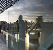 New York. terrace of the new museum contemporary art in Bowery area, lower east side.   United states  mirror reflections/ terrasse du new museum contemporary art.  quartier de Bowery . lower east side New York - Etats-unis