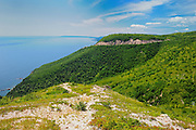 Rocky coastline of Cabot Trail<br /> Cape Breton Highlands National Park<br /> Nova Scotia<br /> Canada