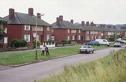 View of 1930s semidetached houses on housing estate in Nottingham,