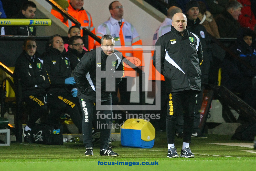 Norwich Manager Neil Adams and Norwich First Team Coach Mike Phelan during the Sky Bet Championship match at Carrow Road, Norwich<br /> Picture by Paul Chesterton/Focus Images Ltd +44 7904 640267<br /> 13/12/2014