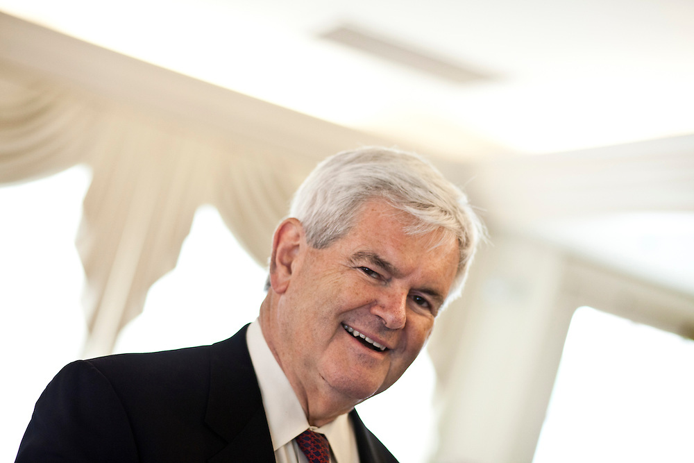 Republican presidential hopeful Newt Gingrich campaigns at the Cedar Rapids Country Club on Thursday, August 4, 2011 in Cedar Rapids, IA.