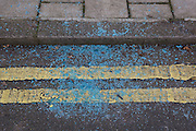 Pieces of shattered glass aftermath of the victim of a crime from a vehicle, on 15th February 2017, in London borough of Lambeth, United Kingdom.