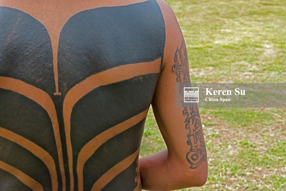 Yapese people's tattoo on back, Yap Island, Federated States of Micronesia