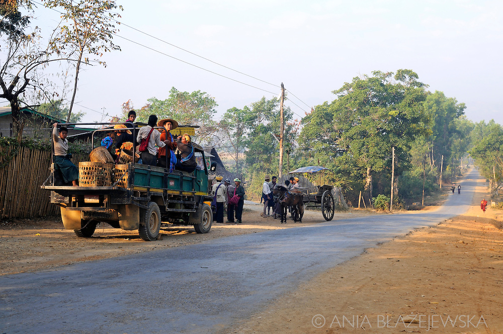 Myanmar/Burma, Nyaungshwe. Pick-ups are sometimes the only possible way of transport for people from Myanmar.