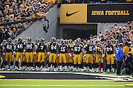 October 23 2010: The Iowa Hawkeyes prepare to take the field before the start of the NCAA football game between the Wisconsin Badgers and the Iowa Hawkeyes at Kinnick Stadium in Iowa City, Iowa on Saturday October 23, 2010. Wisconsin defeated Iowa 31-30.