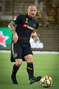 LAFC defender Jordan Harvey (2) moves the ball during an MLS soccer match against the Minnesota United. Minnesota United defeated the LAFC 2-0 on Sunday Sept. 1 2019, in Los Angeles. (Ed Ruvalcaba/Image of Sport)