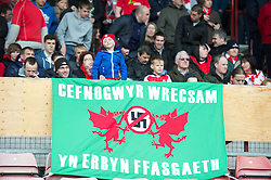 WREXHAM, WALES - Monday, May 7, 2012: Wrexham supporters' banner 'Cefnogwyr Wrecsam Yn Erbyn Ffasgaeth' during the Football Conference Premier Division Promotion Play-Off 2nd Leg against Luton Town at the Racecourse Ground. (Pic by David Rawcliffe/Propaganda)