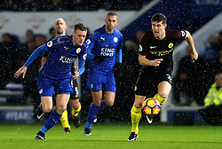 John Stones of Manchester City and Jamie Vardy of Leicester City chase down the ball - Mandatory by-line: Robbie Stephenson/JMP - 10/12/2016 - FOOTBALL - King Power Stadium - Leicester, England - Leicester City v Manchester City - Premier League