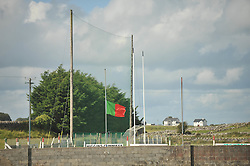 Kilmaine's Club flag flying at half mast on the day of Darragh Doherty's funeral.<br /> Pic Conor McKeown