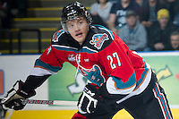 KELOWNA, CANADA - NOVEMBER 28:  Ryan Olsen #27 of the Kelowna Rockets skates on the ice against the Tri City Americans at the Kelowna Rockets on November 28, 2012 at Prospera Place in Kelowna, British Columbia, Canada (Photo by Marissa Baecker/Shoot the Breeze) *** Local Caption ***