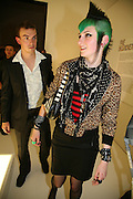 Jotis Moore and Chloe Pye, 10 Years in Fashion, private view. Design Museum. shad thames. London. 16 October 2007. -DO NOT ARCHIVE-© Copyright Photograph by Dafydd Jones. 248 Clapham Rd. London SW9 0PZ. Tel 0207 820 0771. www.dafjones.com.