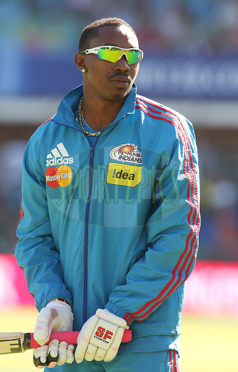 PORT ELIZABETH, SOUTH AFRICA - 10 May 2009. Dwayne Bravo warms up with batting practice before the start  during the  IPL Season 2 match between the Mumbai Indians and the Royal Challengers Bangalore held at St Georges Park in Port Elizabeth , South Africa..