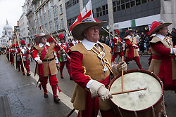© licensed to London News Pictures. London, UK 10/11/2012. People dressed as musketeers marching at Lord Mayor's Show to accompany the 685th Lord Mayor of London on 10/11/12. This year's procession is over three and a half miles long and includes over 6500 people, 22 marching bands, 125 horses, 18 vintage cars and 21 carriages. Photo credit: Tolga Akmen/LNP