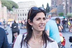 April 28, 2018 - Rome, Italy - The Mayor of Rome Virginia Raggi..Bicifestazione 2018, a cycling event in Via dei Fori Imperiali in Rome, organized to request laws in favor of cyclists (Credit Image: © Matteo Nardone/Pacific Press via ZUMA Wire)