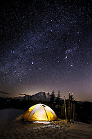 WA14515-00...WASHINGTON - Winter campsite on Suntop Mountain in the Baker-Snoqualmie National Forest.