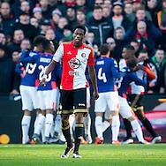 ROTTERDAM, Feyenoord - PSV, voetbal, Eredivisie seizoen 2015-2016, 17-1-2016, Stadion De Kuip, teleurstelling bij Feyenoord speler Terence Kongolo (M)M na de 0-1 voor PSV.