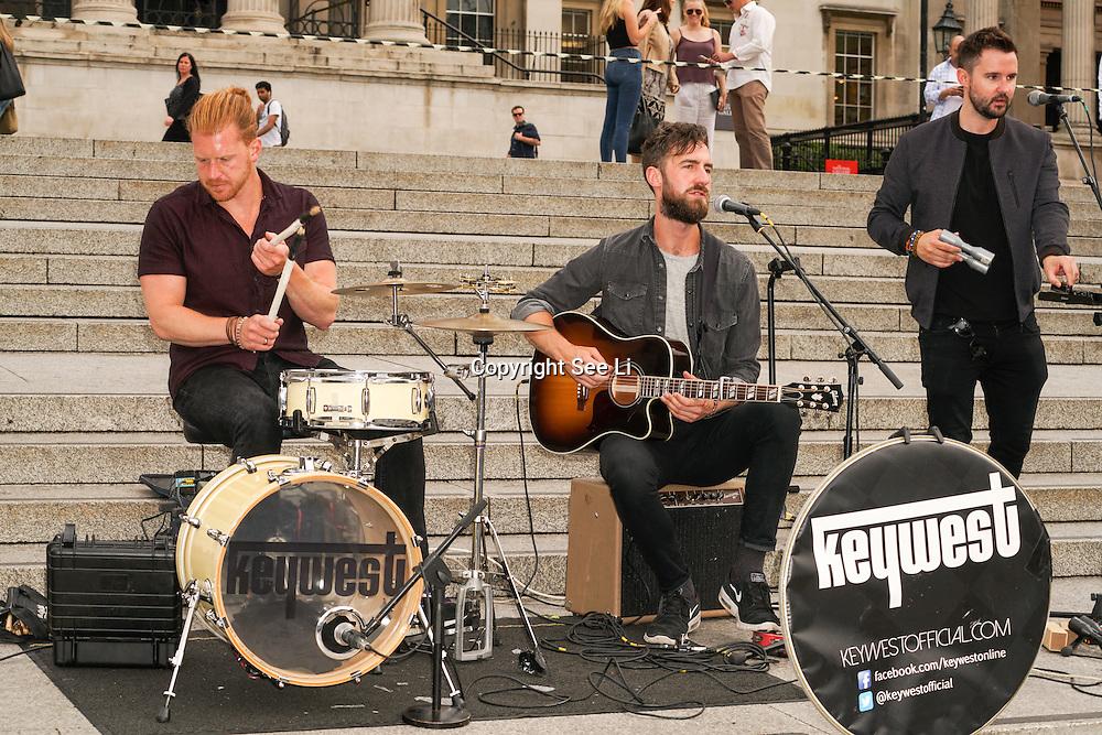 London,England,UK, 22th July 2016 : Keywest performs at the Mayor of London Sadiq Khan Launch of International Busking Day '#LondonIsOpen' in Trafalgar Square, London, UK. Photo by See Li