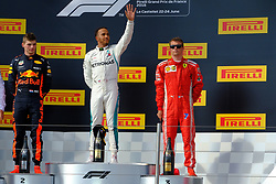 June 24, 2018 - Le Castellet, Var, France - Mercedes 44 Driver LEWIS HAMILTON (GBR) win the Formula one French Grand Prix at the Paul Ricard circuit at Le Castellet - France, Max Verstappen finish second and Kimi Raikkonen third (Credit Image: © Pierre Stevenin via ZUMA Wire)