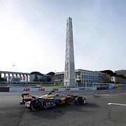Roma 14/04/2018 <br /> ABB FIA Formula E Championship<br /> Gran Premio di Roma <br /> un passaggio davanti all'obelisco di piazza Guglielmo Marconi<br /> Jean-Eric Vergne su Techeetah