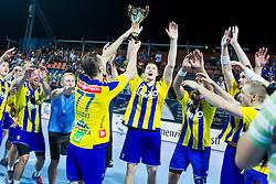 Players of RK Celje Pivovarna Lasko celebrate after handball match between RK Celje Pivovarna Lasko vs RK Gorenje Velenje of Super Cup 2015, on August 29, 2015 in SRC Marina, Portoroz / Portorose, Slovenia. Photo by Urban Urbanc / Sportida