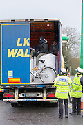 UNITED KINGDOM, Popham Service Station: 22 January 2019. What is thought to be illegal immigrants are held on an articulated lorry after being pulled over at the Popham Services on A303.<br /> Rick Findler