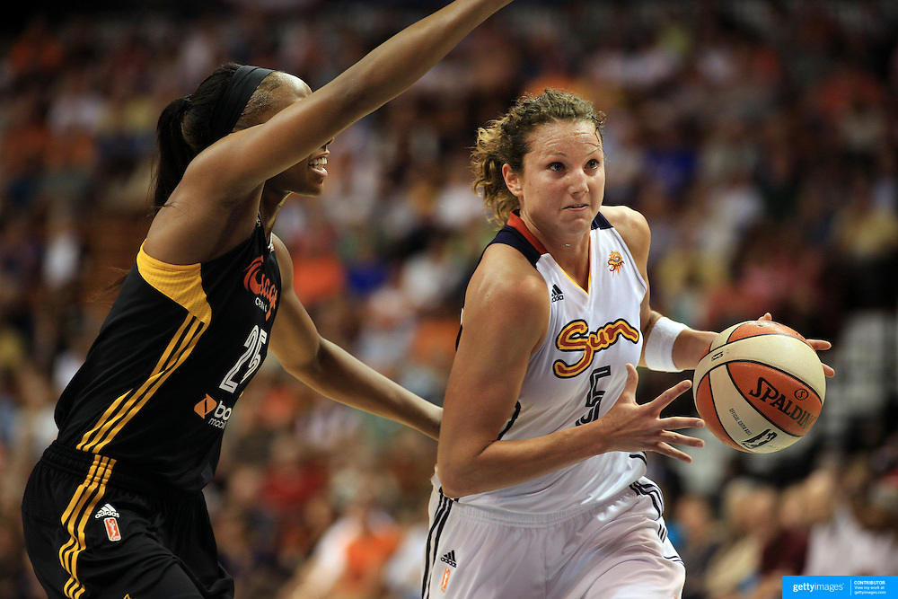 Kelsey Griffin, Connecticut Sun, in action during the Connecticut Sun V Tulsa Shock WNBA regular game at Mohegan Sun Arena, Uncasville, Connecticut, USA. 2nd July 2013. Photo Tim Clayton