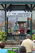 Bar Harbor, USA. 29 April, 2017. Nick Ressel, a student at Mount Desert Island High School, addresses the Downeast Climate March.