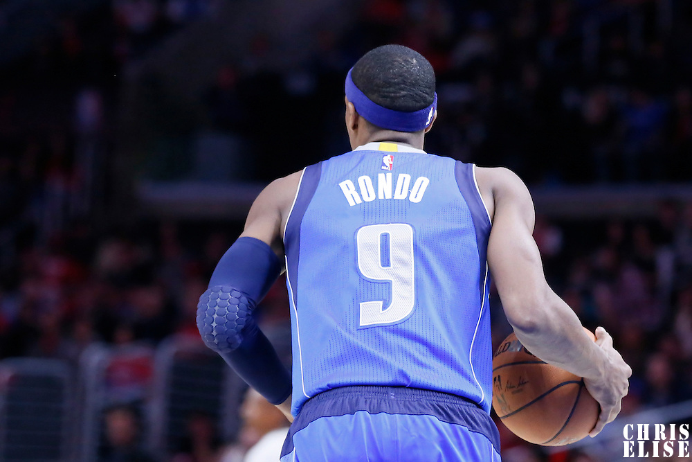 10 January 2014: Dallas Mavericks guard Rajon Rondo (9) brings the ball up court during the Los Angeles Clippers 120-100 victory over the Dallas Mavericks, at the Staples Center, Los Angeles, California, USA.