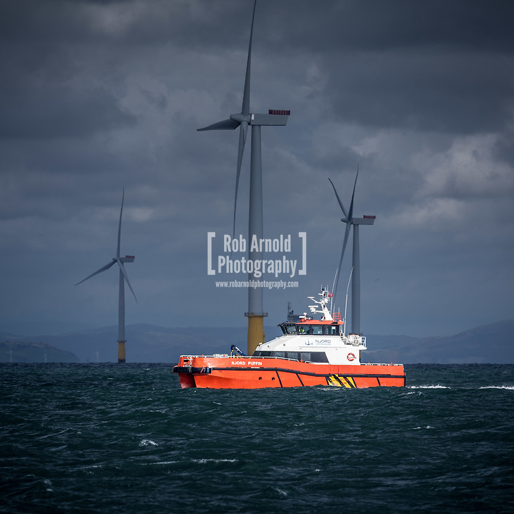 The crew transfer vessel (CTV) Njord Puffin working on Walney Extension Offshore Wind Farm in the Irish Sea