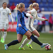 HARRISON, NEW JERSEY- MARCH 4:   Amadine Henry #6 of France tackles Mandy Islacker #15 of Germany during the France Vs Germany SheBelieves Cup International match at Red Bull Arena on March 4, 2017 in Harrison, New Jersey. (Photo by Tim Clayton/Corbis via Getty Images)