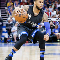 25 February 2017: Orlando Magic guard D.J. Augustin (14) dribbles during the Orlando Magic 105-86 victory over the Atlanta Hawks, at the Amway Center, Orlando, Florida, USA.