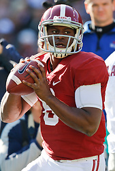 Nov 15, 2014; Tuscaloosa, AL, USA; Alabama Crimson Tide quarterback Blake Sims (6) warms up prior to the game against the Mississippi State Bulldogs<br /> at Bryant-Denny Stadium. Mandatory Credit: Marvin Gentry
