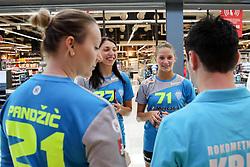 Alma Pandzic, Olga Perederiy and Ines Amon at Press Conference of RK Krim Mercator at start of the season 2018/19, on August 16, 2018 in Mercator Siska, Ljubljana, Slovenia. Photo by Matic Klansek Velej / Sportida