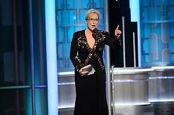 """Jan 8, 2017 - Beverly Hills, California, U.S - MERYL STREEP accepts the Cecil B. DeMille Award for his """"outstanding contribution to the entertainment field"""" at the 74th Annual Golden Globe Awards at the Beverly Hilton in Beverly Hills, CA on January 8, 2017. (Credit Image: ? HFPA/ZUMAPRESS.com)"""