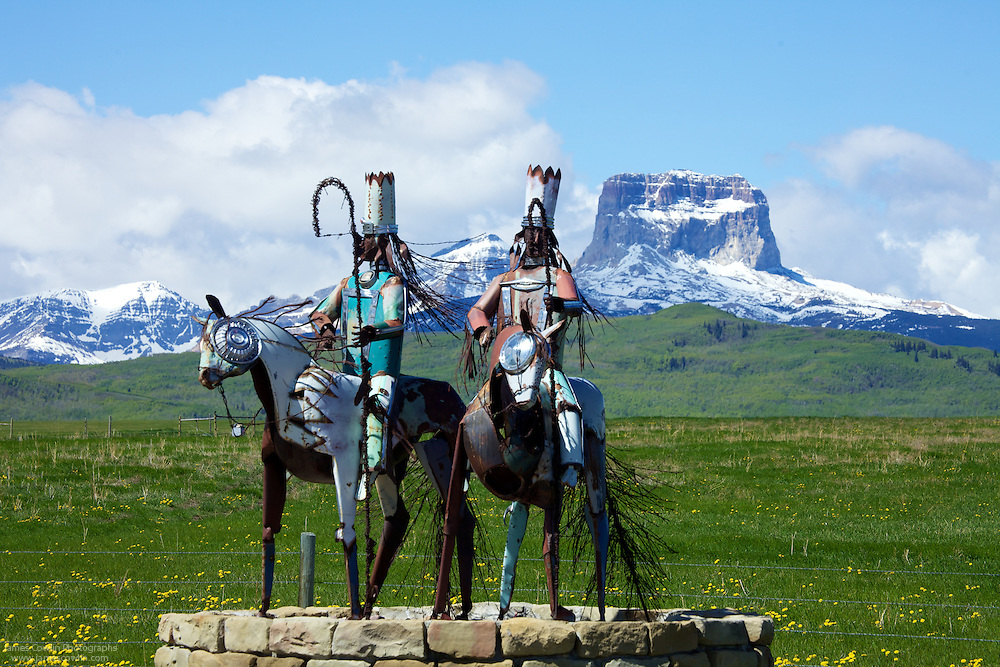 Blackfeet Sentinals sculpture by Jay Laber on US Route 89 at the Canadian border and Chief Mountain on the eastern border of Glacier National and the Blackfeet Reservation, Montana