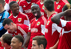 Bristol City's Albert Adomah pulls a face during the team photo - Photo mandatory by-line: Dougie Allward/JMP - Tel: Mobile: 07966 386802 31/07/2013 - SPORT - FOOTBALL - Avon Gorge Hotel - Clifton Suspension bridge - Bristol -  Team Photo