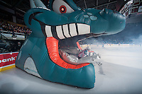 KELOWNA, CANADA - JANUARY 10: Nick Merkley #10 of Kelowna Rockets enters the ice against the Medicine Hat Tigers on January 10, 2015 at Prospera Place in Kelowna, British Columbia, Canada.  (Photo by Marissa Baecker/Shoot the Breeze)  *** Local Caption *** Nick Merkley;