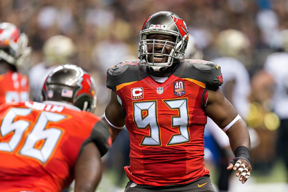 NEW ORLEANS, LA - SEPTEMBER 20:  Gerald McCoy #93 of the Tampa Bay Buccaneers celebrates after a play during a game against the New Orleans Saints at Mercedes-Benz Superdome on September 20, 2015 in New Orleans Louisiana.  The Buccaneers defeated the Saints 26-19.  (Photo by Wesley Hitt/Getty Images) *** Local Caption *** Gerald McCoy