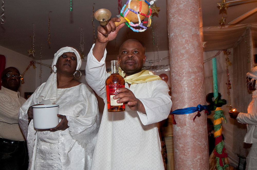 Vodou ceremony during the winter solstice in a suburbs of Montreal, Quebec, Canada