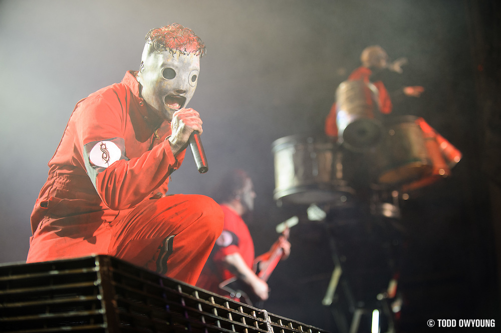 Slipknot performing at Mayhem Fest 2012 at Verizon Wireless Amphitheater in St. Louis, Missouri on July 20, 2012.