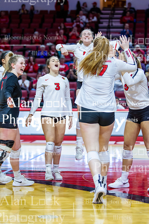 BLOOMINGTON, IL - November 22: Kendal Meier, Kaity Weimerskirch during a college Women's volleyball match between the ISU Redbirds and the Sycamores of Indiana State on November 22 2019 at Illinois State University in Normal, IL. (Photo by Alan Look)