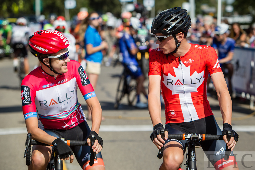 SPRUCE GROVE, ALBERTA, CAN - September 2: Robert Britton (Rally Cycling) and teammate Matteo Dal-Cin (Rally Cycling) have a chat on the start line of stage 2 of the Tour of Alberta on September 2, 2017 in Spruce Grove, Canada. (Photo by Jonathan Devich)
