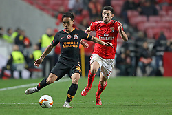 February 21, 2019 - Lisbon, Portugal - Yuto Nagatomo of Galatasaray AS (L) vies for the ball with Pizzi (Luís Miguel Afonso Fernandes) of SL Benfica (R) during the Europa League 2018/2019 footballl match between SL Benfica vs Galatasaray AS. (Credit Image: © David Martins/SOPA Images via ZUMA Wire)