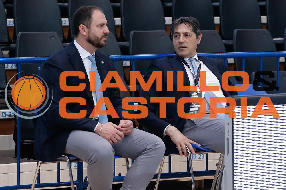 Andrea Diana, Sandro Santoro<br /> Dolomiti Energia Aquila Basket Trento - Germani Basket Brescia Leonessa<br /> Lega Basket Serie A 2016/2017<br /> PalaTrento, 23/04/2017<br /> Foto Ciamillo-Castoria / M. Brondi